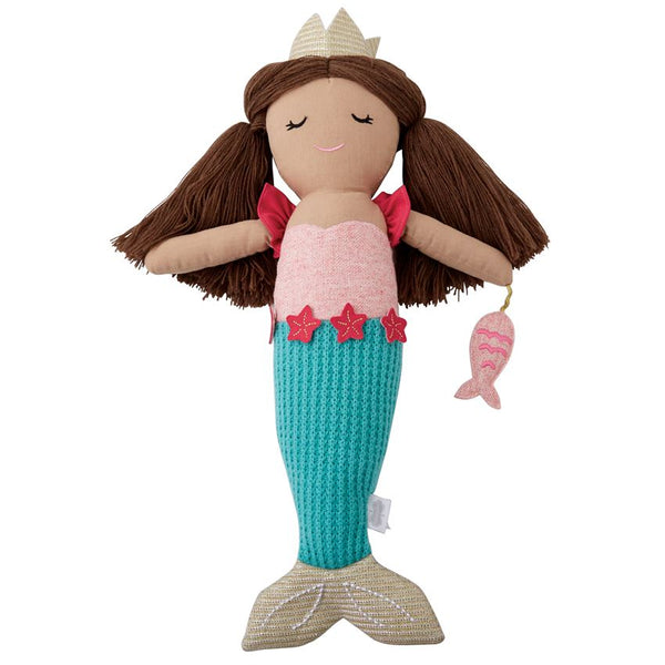 Mudpie Blue Plush Linen Mermaid Doll