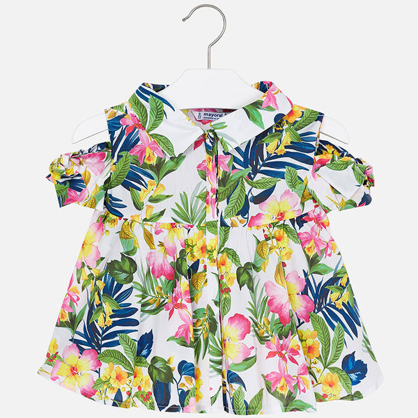 Mayoral Off the Shoulder Tropical Patterned Blouse