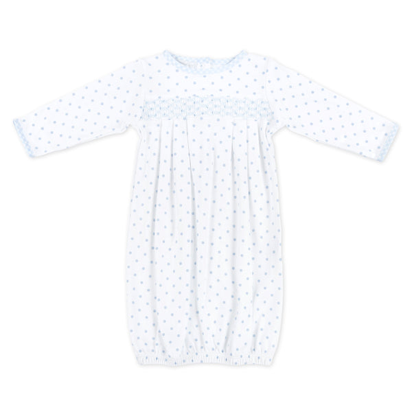 Magnolia Baby Blue Gingham Dot Smocked Gown