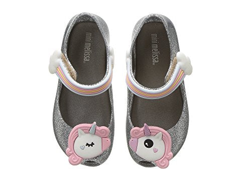 Mini Melissa Silver Unicorn Shoe