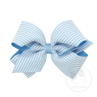 Wee Ones Light Blue Seersucker Bow (King size)