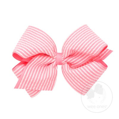 Wee Ones Pink Seersucker Bow (King size)