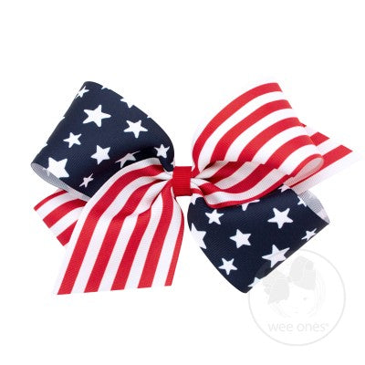 Wee Ones Stars/Stripes Print Bow (King size)