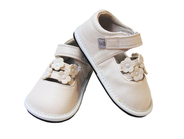 Jack & Lilly Shoe - Rubber Sole Leather Flower Shoe in White