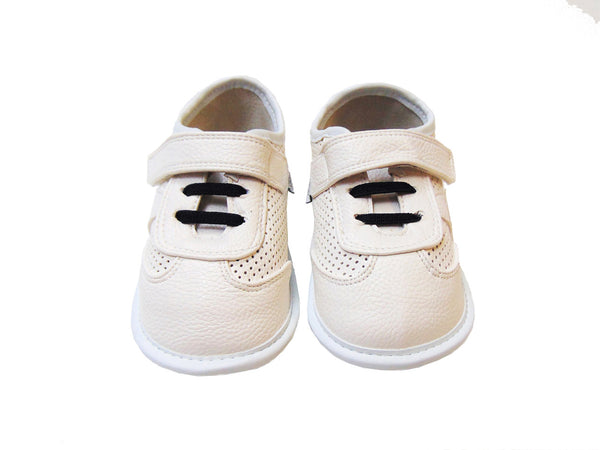Jack & Lilly Shoe - Rubber Sole Leather Tennis Shoe in White