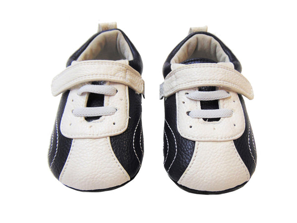 Jack & Lilly Shoe - Rubber Soft Sole Leather Tennis Shoe in Navy/White