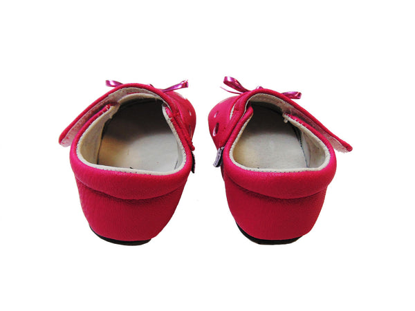 Jack & Lilly - Rubber Sole Leather Bow Shoe in Fuscia