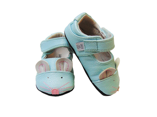 Jack & Lilly Shoe - Rubber Sole Leather Mouse Shoe in Aqua