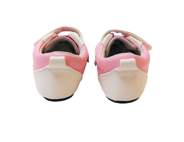Jack & Lilly Shoe - Rubber Sole Leather Tennis Shoe in Pink and White