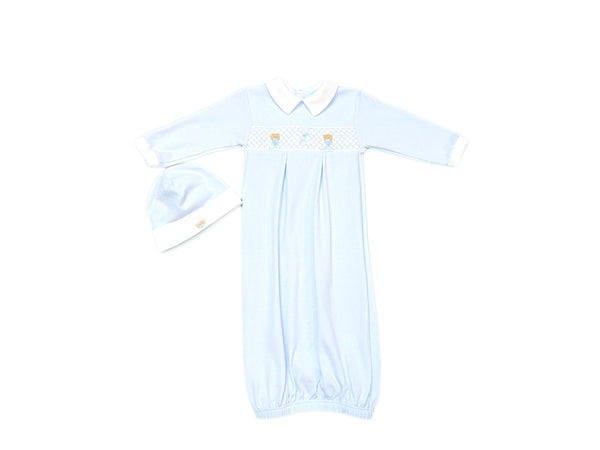 Baby Threads - Soft Cotton Smocked Bear Gown with matching hat