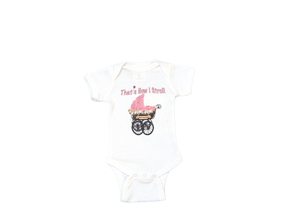 "Mumsy Goose - Cotton Graphic Onesie ""That's How I Stroll"""
