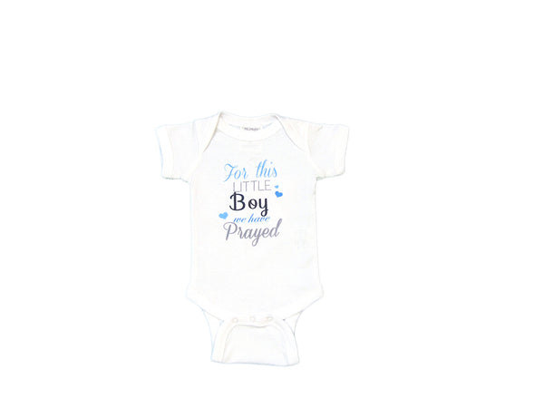"Mumsy Goose - Cotton Graphic Onsie ""For This Little Boy We Have Prayed"""