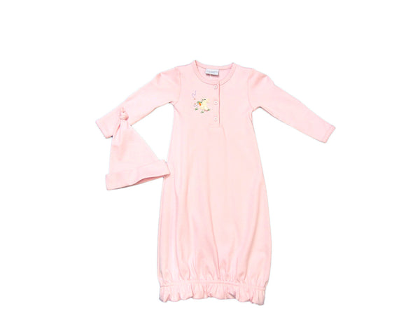 Squiggles - Soft Cotton Bunny Applique Gown with matching hat