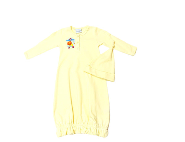 Squiggles - Soft Cotton Circus Lion Applique Gown with matching Hat