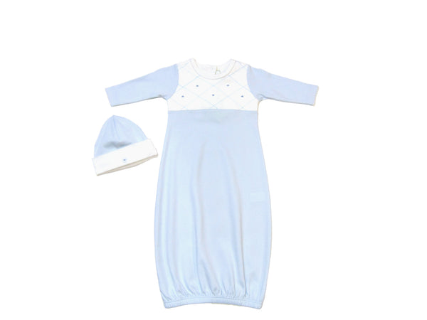 Baby Threads - Cotton Argyle Embroidery Gown Set with Matching Hat