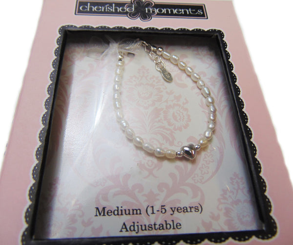 Cherished Moments - Freshwater Pearl with Sterling Silver Heart Necklace (1-5 Years) Adjustable