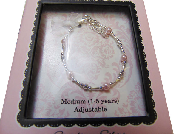 Cherished Moments - Sterling Silver and Pink Pearl Adjustable Bracelet (1-5Years)