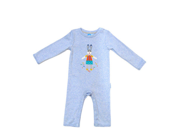 Albetta - Cotton Bunny Applique Denim Blue Romper