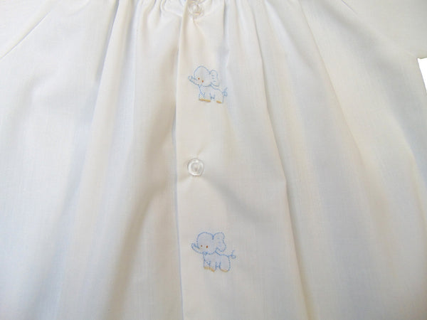 Auraluz - Cotton Elephant Embroidered Gown