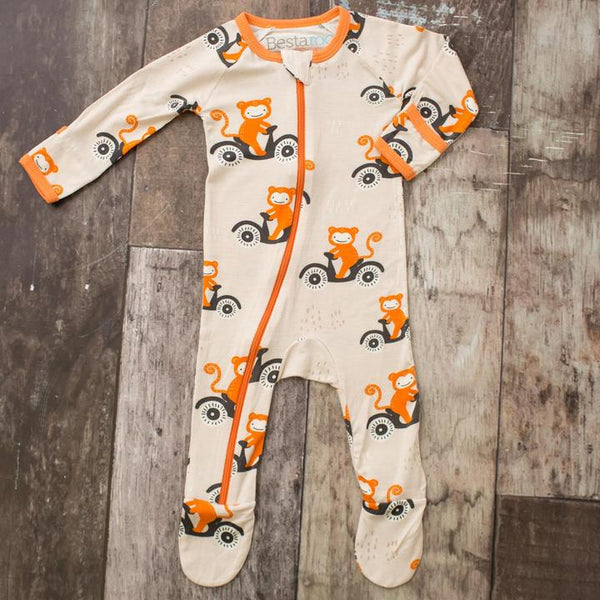 Bestaroo Orange Monkey Print Footie