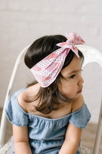 Baby Bling Headband-Ice Cream Dot