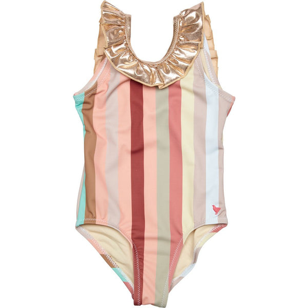 Pink Chicken Princess Diana Striped Swimsuit