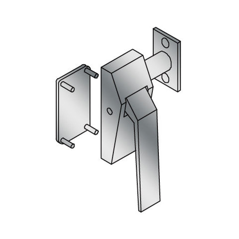ABH 6832 Reverse Low Profile Hospital Pull Down Latch   Left Hand