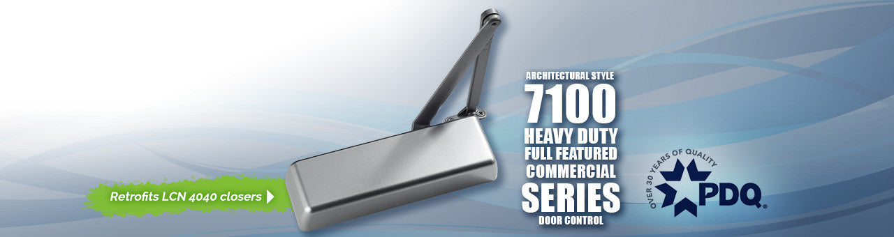 Commercial Doors, Commercial Door Hardware, The PDQ 7100 Series is an extra heavy-duty door closer which retrofits the LCN 4040 Series.
