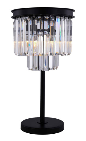 ZC121-1231TL14MB/RC - Urban Classic: Sydney 3 light Matte Black Table Lamp Clear Royal Cut Crystal