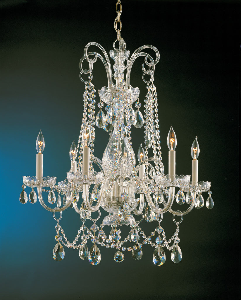 6 Light Polished Brass Crystal Chandelier Draped In Clear Spectra Crystal - C193-1030-PB-CL-SAQ