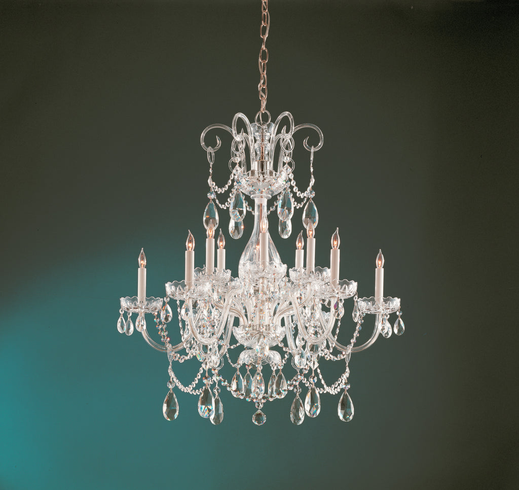 12 Light Polished Brass Crystal Chandelier Draped In Clear Spectra Crystal - C193-1035-PB-CL-SAQ