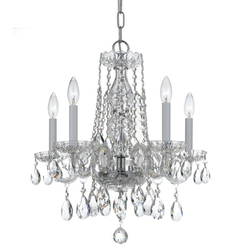 5 Light Polished Chrome Crystal Mini Chandelier Draped In Clear Swarovski Strass Crystal - C193-1061-CH-CL-S