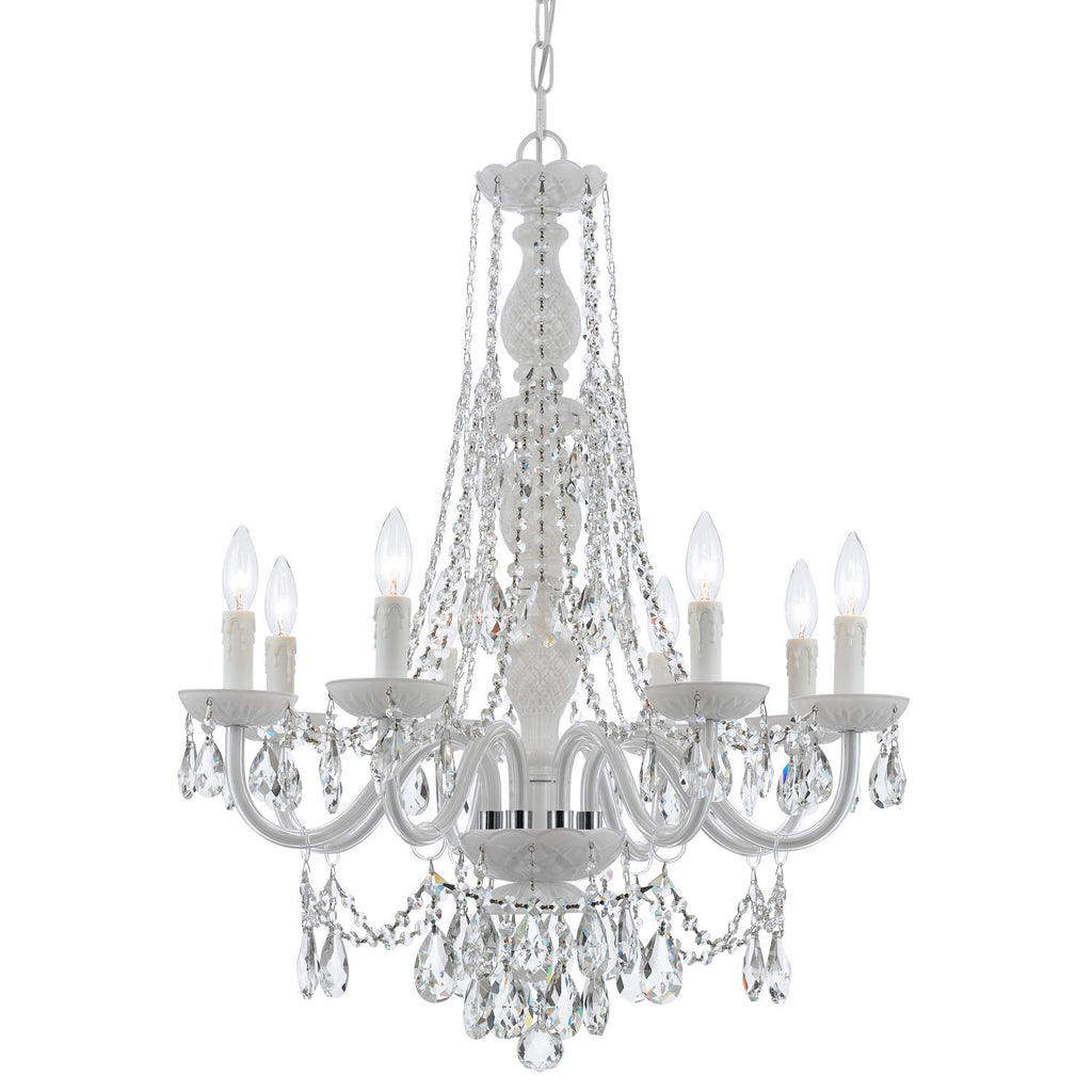 8 Light Wet White Eclectic Chandelier Draped In Clear Swarovski Strass Crystal - C193-1078-WW-CL-S