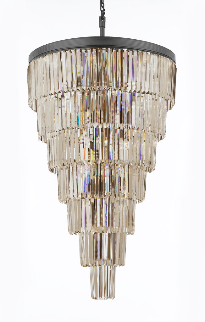 "Retro Palladium Empress Crystal (Tm) Glass Fringe 7 Tier Chandelier Lighting W 30"" x H 49"" - A7-1100/28"