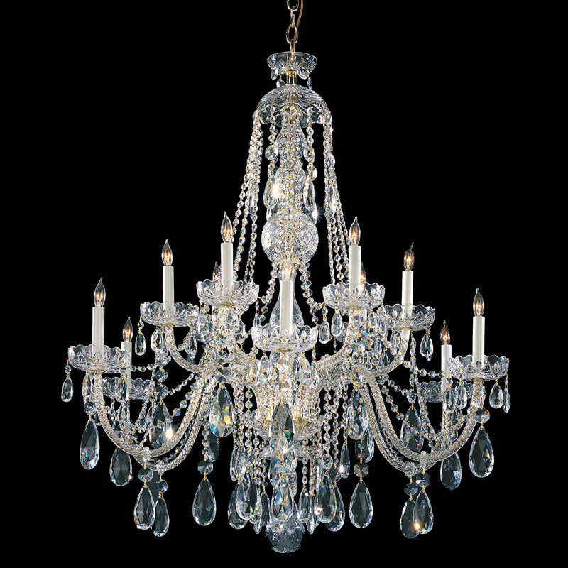 12 Light Polished Brass Crystal Chandelier Draped In Clear Spectra Crystal - C193-1114-PB-CL-SAQ