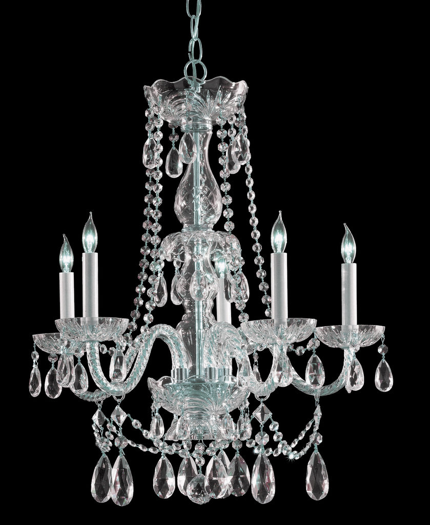 5 Light Polished Chrome Crystal Chandelier Draped In Clear Spectra Crystal - C193-1125-CH-CL-SAQ