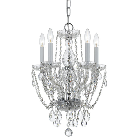 5 Light Polished Chrome Crystal Mini Chandelier Draped In Clear Swarovski Strass Crystal - C193-1129-CH-CL-S