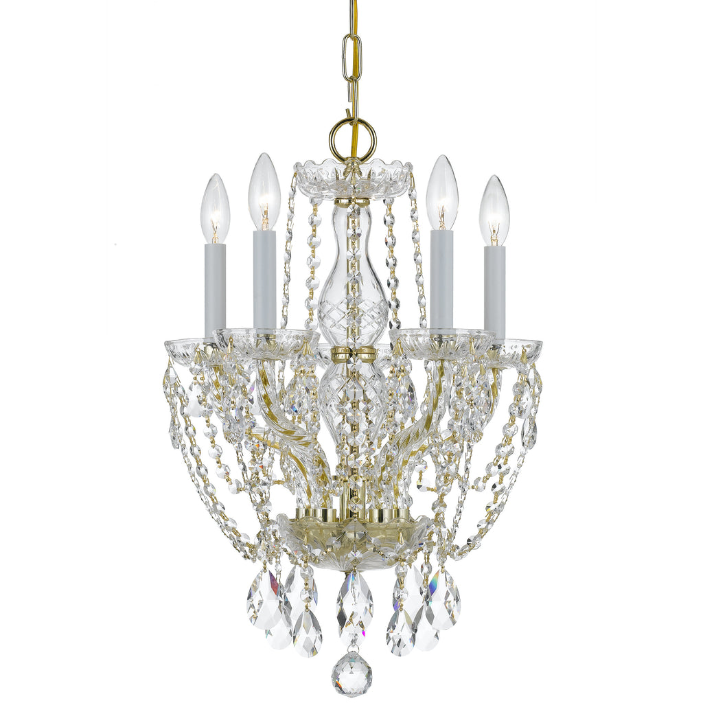 5 Light Polished Brass Crystal Mini Chandelier Draped In Clear Spectra Crystal - C193-1129-PB-CL-SAQ