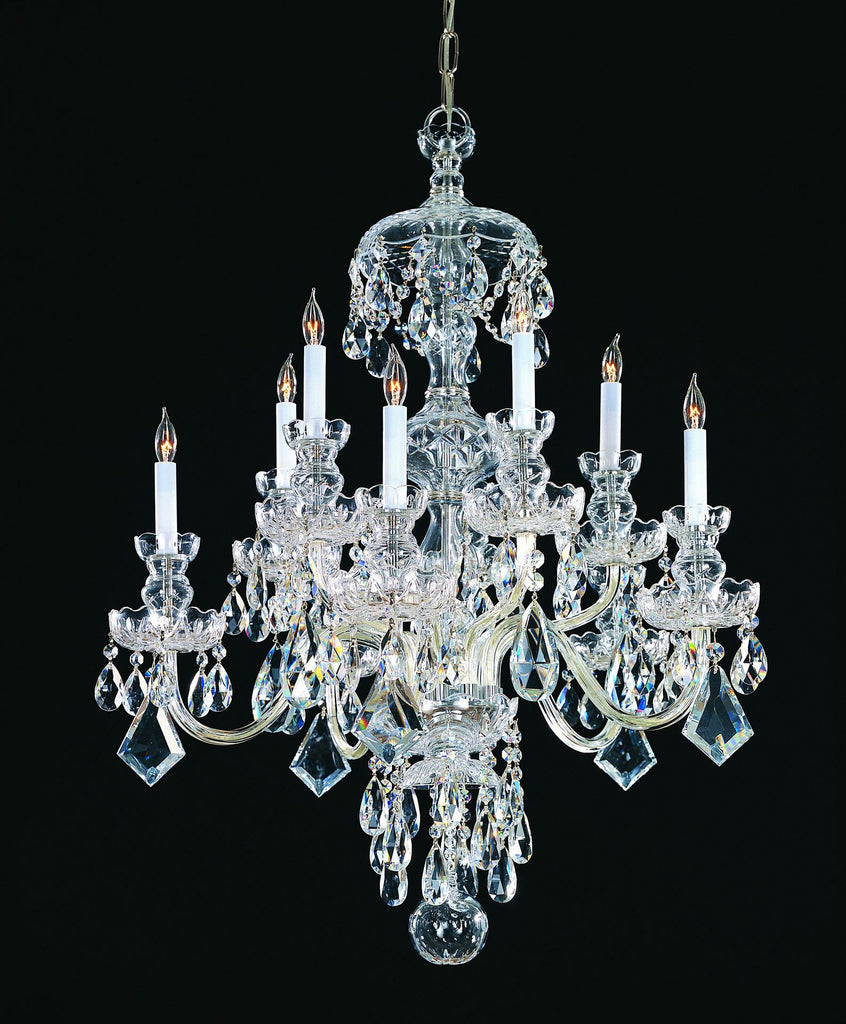 10 Light Polished Chrome Crystal Chandelier Draped In Clear Swarovski Strass Crystal - C193-1140-CH-CL-S