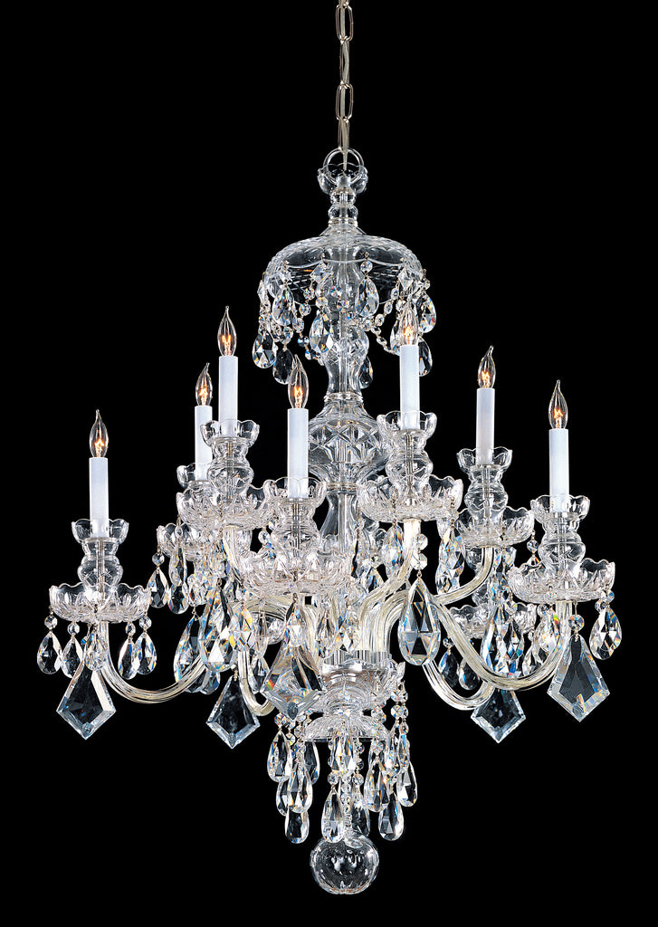 10 Light Polished Brass Crystal Chandelier Draped In Clear Hand Cut Crystal - C193-1140-PB-CL-MWP