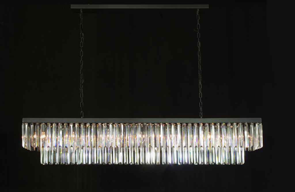 Retro Palladium Glass Fringe Rectangular Chandelier Chandeliers Lighting 59'' Wide