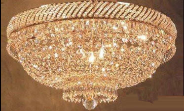 "French Empire Crystal Flush Chandelier Lighting H 16"" W 23"" - F93-Flush/448/9"
