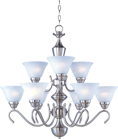 Newport 9-Light Chandelier Satin Nickel - C157-12065MRSN