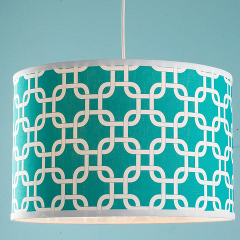16 Inch Geometric Fretwork Pattern Shade Pendant Light - F100-568