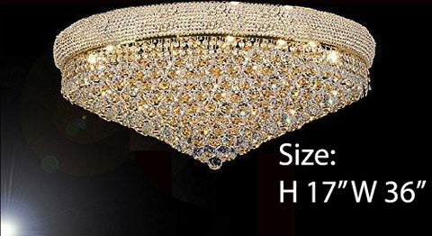 "Flush French Empire Crystal Chandelier H17"" X W36"" - Perfect For An Entryway Or Foyer - A93-Flush/Cg/541/32"