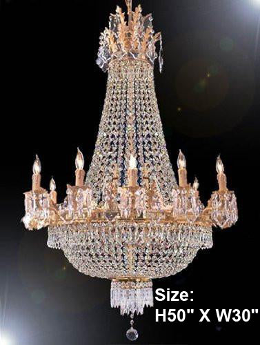 "French Empire Crystal Chandelier H50"" X W30"" - A81-1280/10+5Large"
