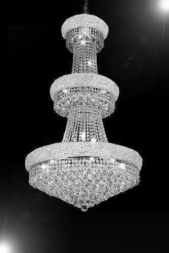 "French Empire Crystal Chandelier H50"" X W30"" - Perfect For An Entryway Or Foyer - Go-A93-Silver/541/24"