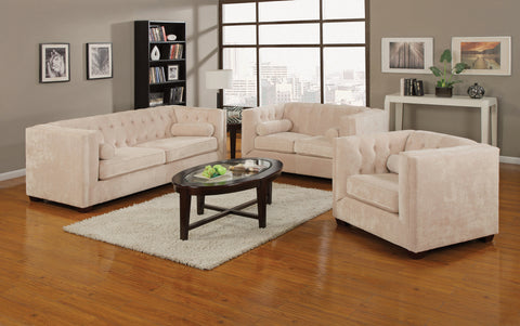 Set of 3 - Cairns Tuxedo Arm Tufted Sofa + Loveseat + Chair Almond - D300-10026