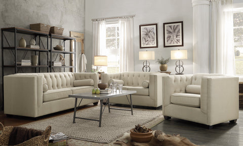 Set of 3 - Cairns Tuxedo Arm Tufted Sofa +Loveseat + Chair Oatmeal - D300-10045