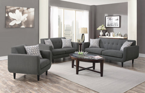 Set of 3 - Stansall Tufted Back Sofa + Loveseat + Chair Grey - D300-10049